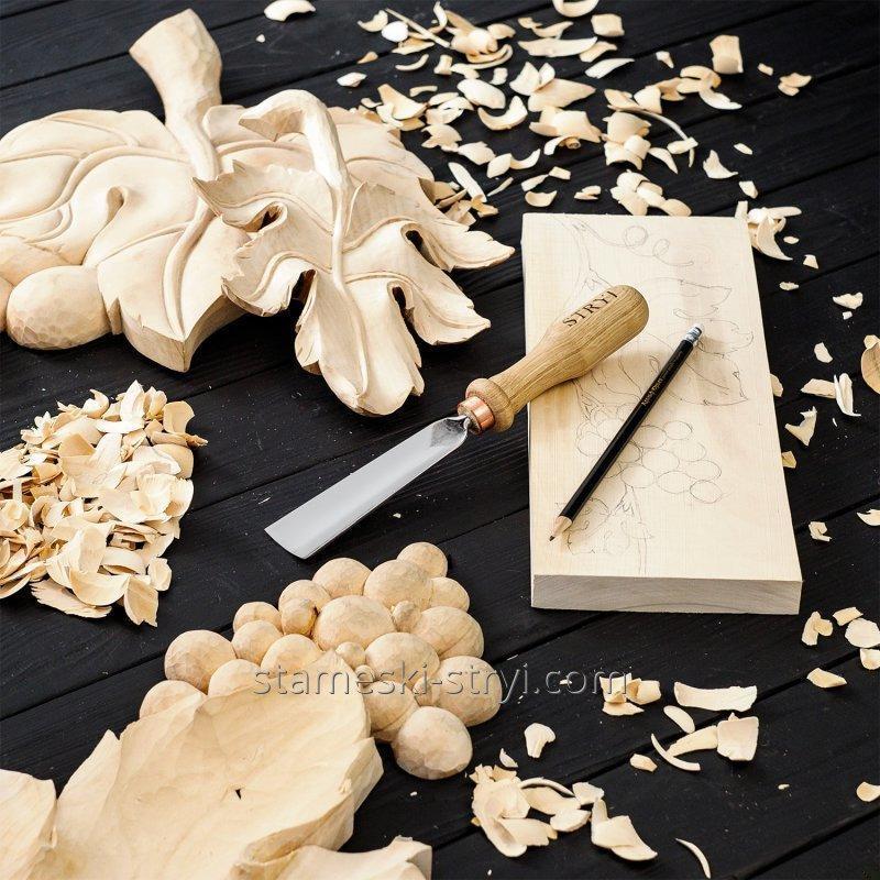 Стамески отлогие STRYI для резьбы по дереву, ширина: 30 мм. Профиль 5, арт.100530
