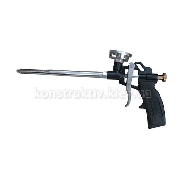 Пистолет для пены монтажной c алюм.ручкой и корпусом, никелевое покрытие+4 насадки ТМ Budmonster