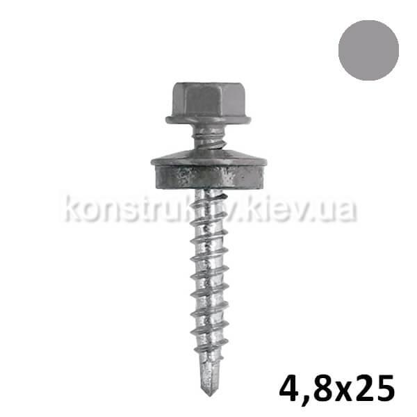 Саморез 4,8*25 мм кровельный по металлу, серый, RAL7012 250шт. 1/10/12/16 (BudMonster SUPER)