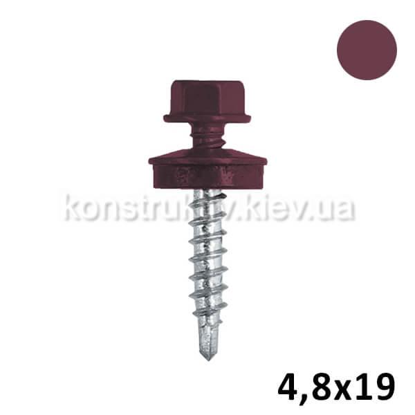 Саморез кровельный 4,8*19 мм металл, вишневый, RAL3005 250шт. 1/12 BudMonster SUPER
