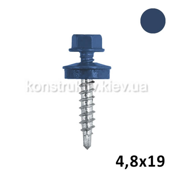 Саморез кровельный 4,8*19 мм металл, синий, RAL5002 250шт. 1/12 BudMonster SUPER