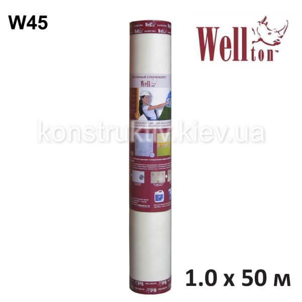 Стеклохолст малярный Wellton W45, 1*50м