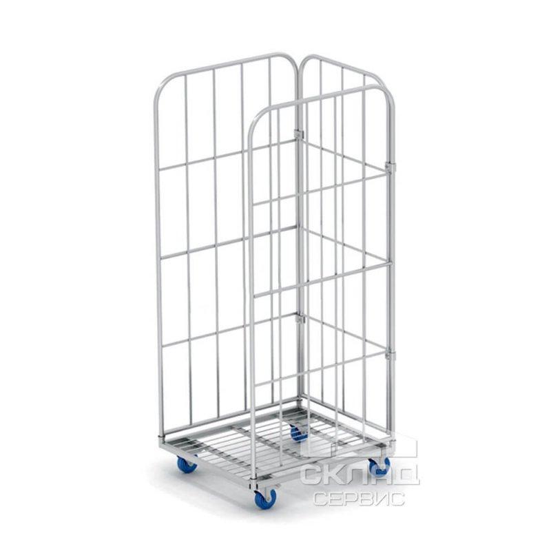 Купить Сетчатый контейнер на колесах (ролл-контейнер) трехстеночный 1650(h)х700х790 мм