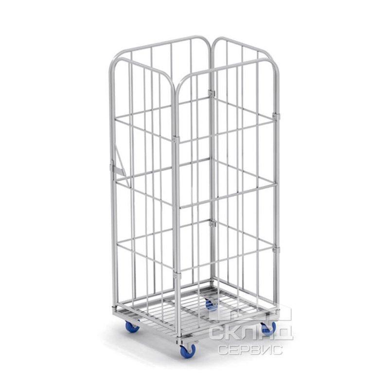 Купить Сетчатый контейнер на колесах (ролл-контейнер) четырехстеночный 1650(h)х700х790 мм