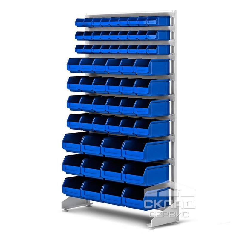 Купить Стеллаж односторонний с лотками LS (63 шт) 1800(h)х1000х350 мм