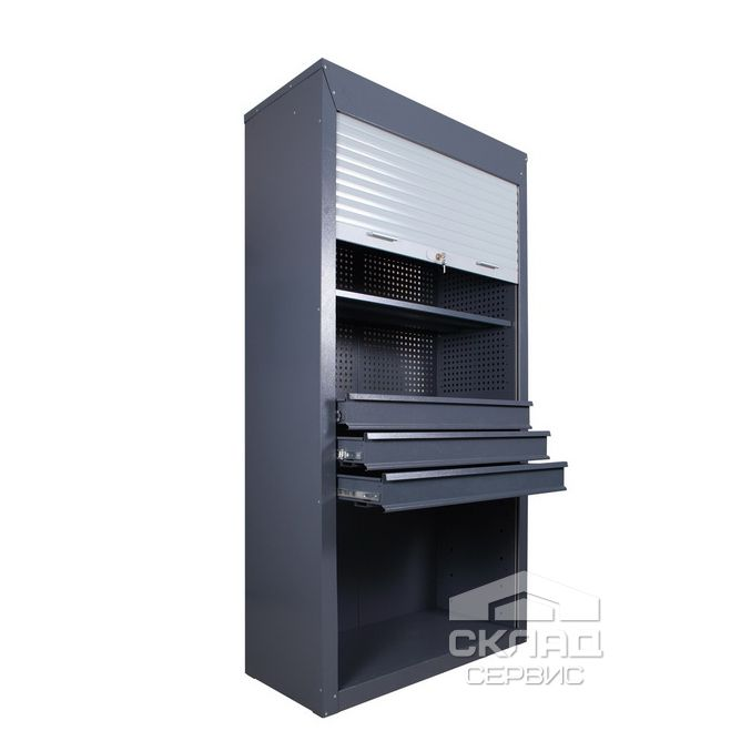 Купить Шкаф для инструментов с роликовыми дверями ШИ-10/3П/3В Р 2100х1045х500 мм