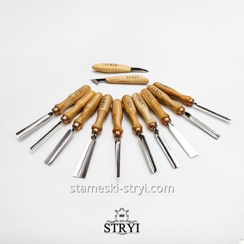 Набор профессиональных стамесок STRYI для резьбы по дереву, 12 штук, арт.S12003