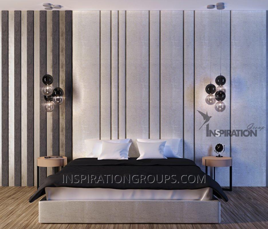 Кровать и стеновая панель (изголовье)
