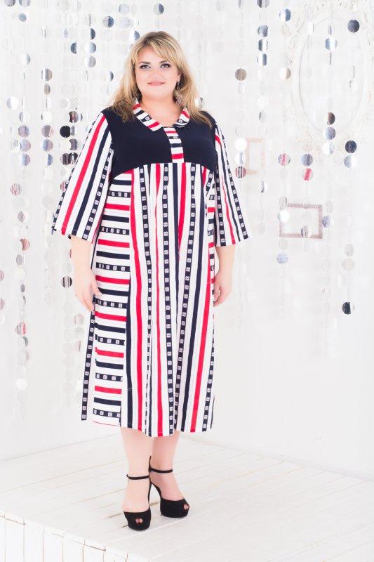Красивое платье из натуральной ткани больших размеров Амади 1065А-1
