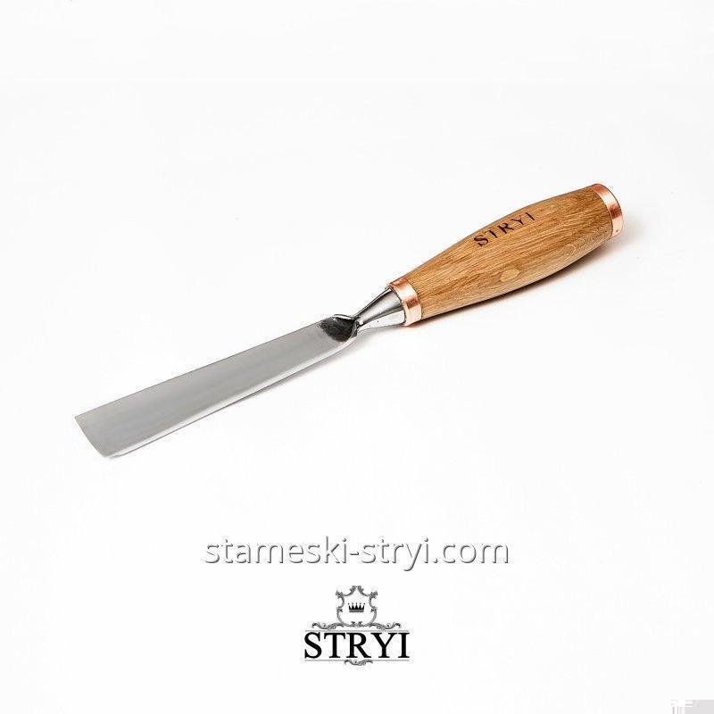 Ударная отлогая стамеска STRYI для объемной резьбы по дереву, профиль 7, 30 мм, арт.60730