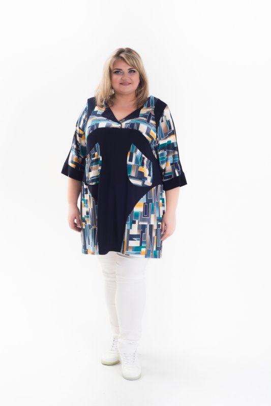 Купить Модная, стильная , красивая туника Тетрис больших размеров 1064Т-2