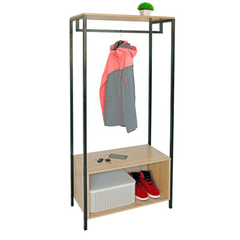 Стойка для одежды Fenster Квадро 10 Дуб Сонома 160х73х36,5