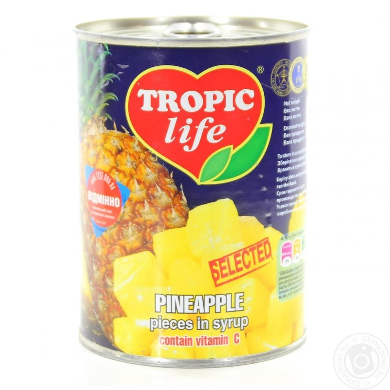 Купить Ананас кусочками Tropic Life в сиропі 580 мл * 24 шт