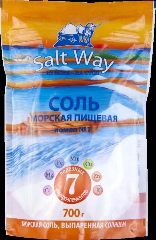 Купить Соль морская пищевая 700г дой-пак с зип-застежнкой, помол №1 ТМ Salt Way