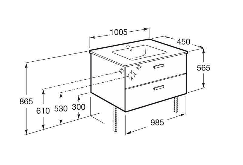 Купить VICTORIA шкафчик с умывальником 100 см,белый (A855851806)