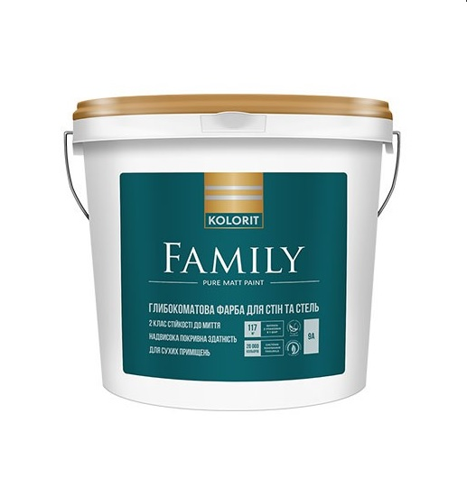 Краска интерьерная Колорит FAMILY, 9 кг
