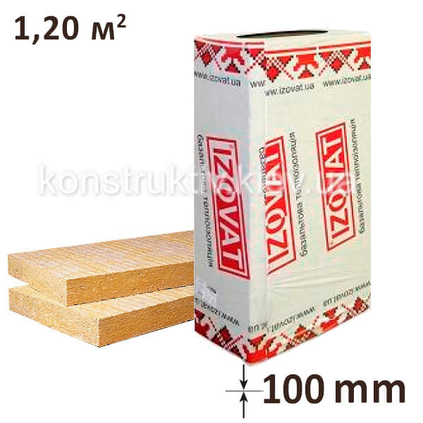 Минеральная вата Изоват 80 (1000*600*100) 1,2м.кв. упаковка 2 плиты