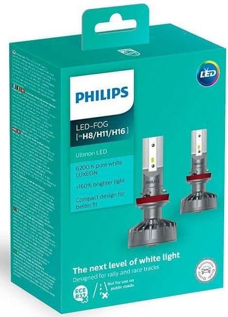 Купить Лампа светодиодная Philips H8/Р11/H16 Ultinon Led +160%, 2 шт/комплект