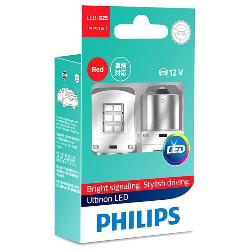 Купить Лампа автомобильная светодиодная Philips P21W RED Ultinon 12V, 2шт/блистер
