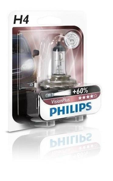 Купить Лампа галогенная Philips H4 VisionPlus, 1шт/блистер