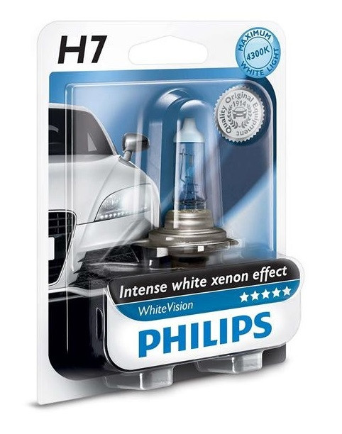 Купить Лампа галогенная Philips H7 WhiteVision +60%, 3700K, 1шт/блистер
