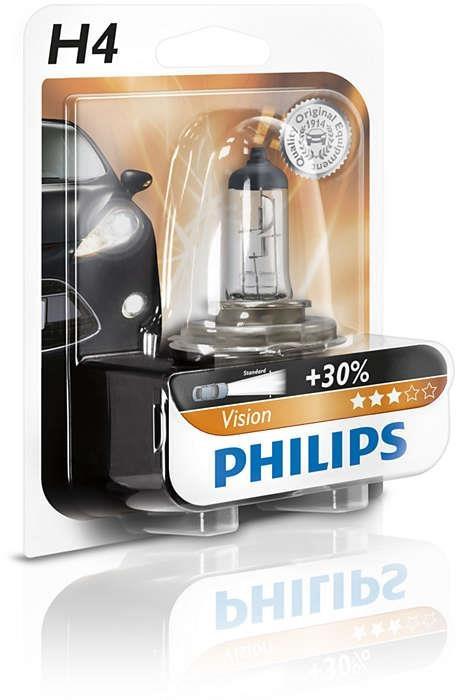 Купить Лампа галогенная Philips H4 Vision, 3200K, 1шт/блистер