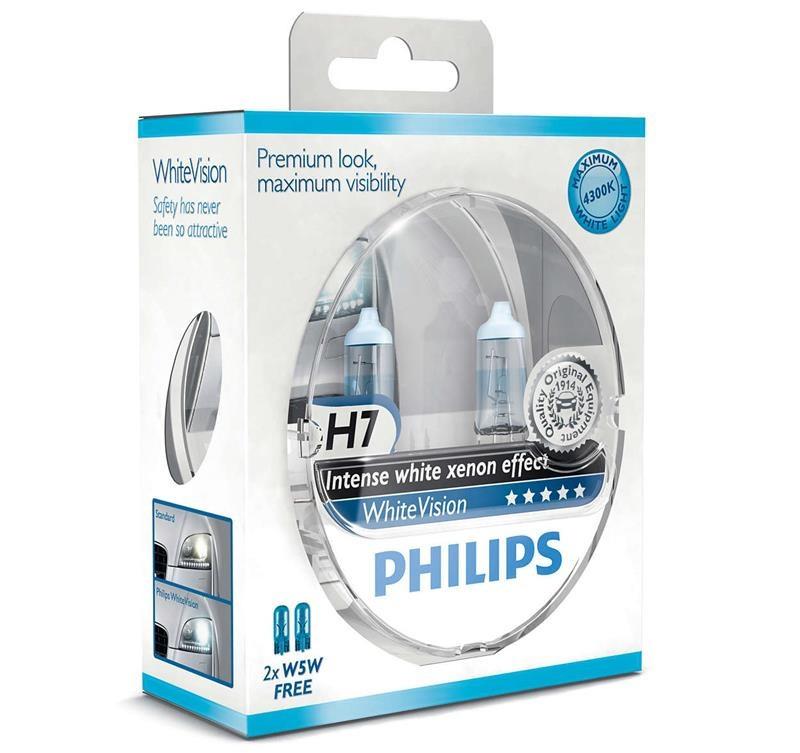 Купить Лампа галогенная Philips H7 WhiteVision +60%, 3700K, 2шт/блистер