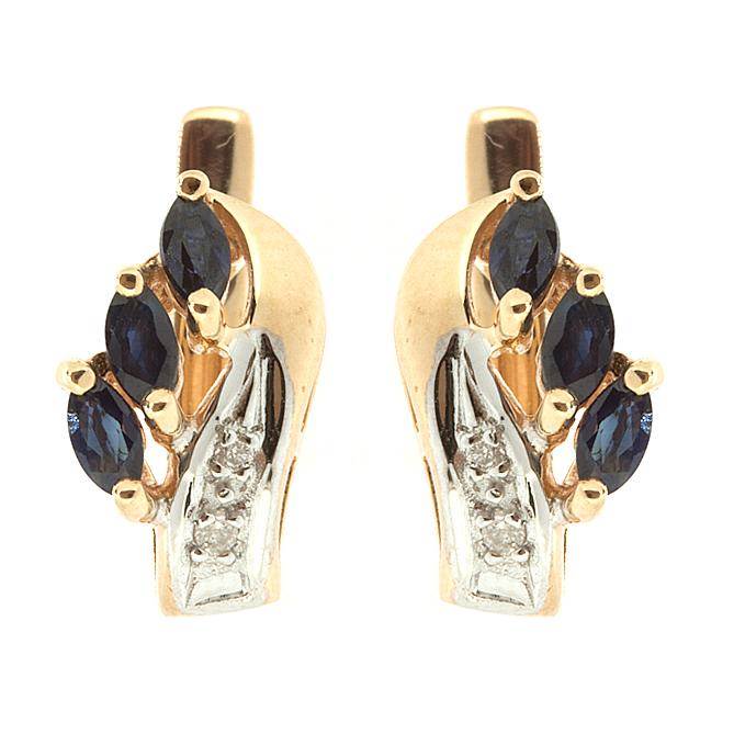 Купить Золотые серьги с сапфирами и бриллиантами E-112