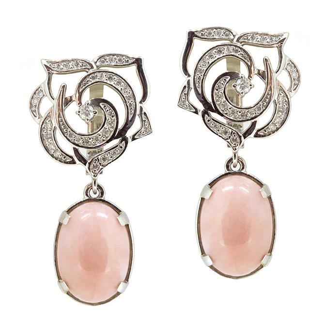 Купить Золотые серьги с розовыми опалами и бриллиантами E-6516