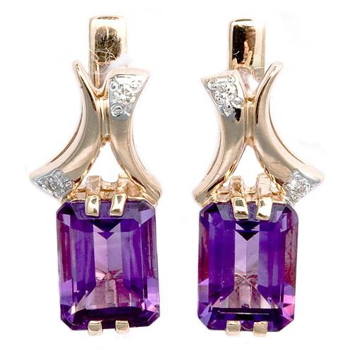 Купить Золотые серьги с аметистами и бриллиантами E-6260