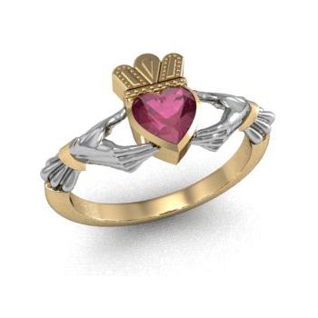 Купить Золотое кладдахское кольцо с рубином ZT-700275