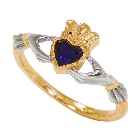 Купить Золотое кладдахское кольцо с сапфиром ZT-700275