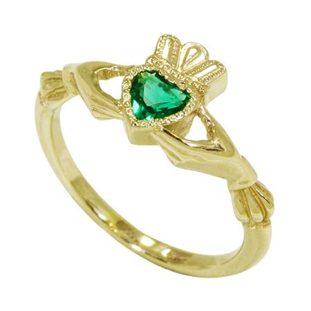 Купить Золотое кладдахское кольцо с изумрудом ZT-700275