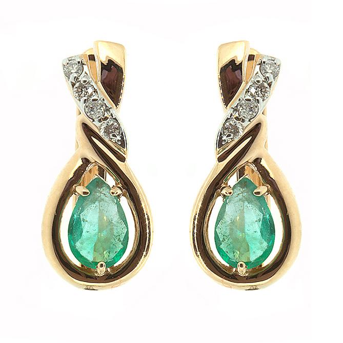 Купить Золотые серьги с изумрудами и бриллиантами E-5513