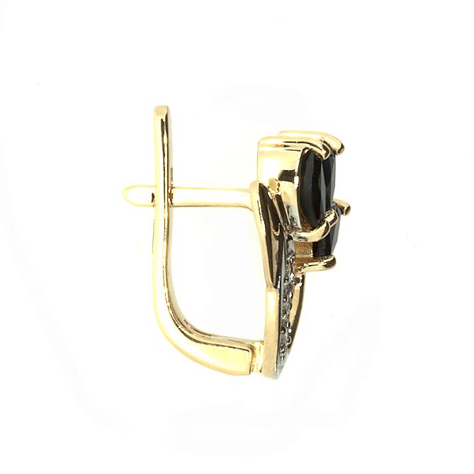 Купить Золотые серьги с сапфирами и бриллиантами E-6093
