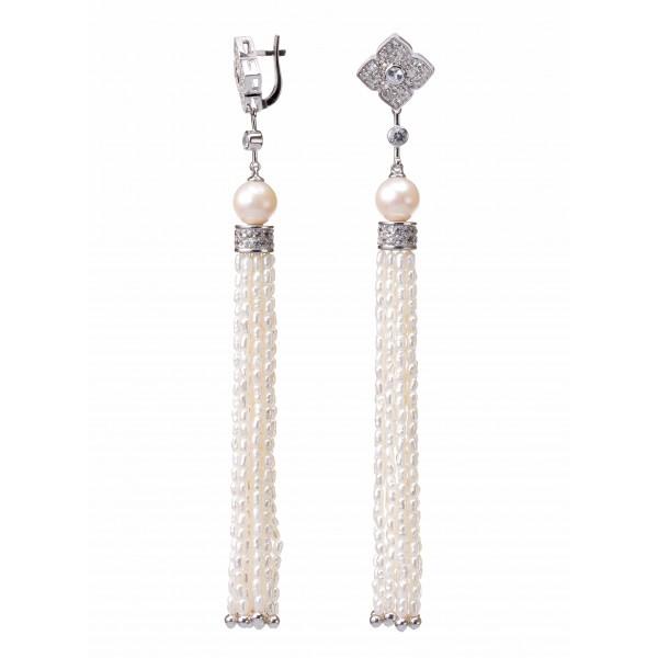 Купить Серебряные серьги с жемчугом, белыми сапфирами и кисточками рисового жемчуга ESwP-00616Ag