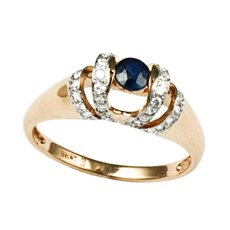 Купить Золотое кольцо с сапфиром и бриллиантами R-6144