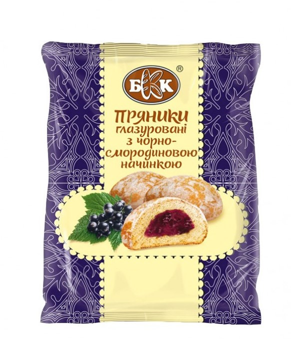 Glazed gingerbread cookies with black currant filling, 190 g.