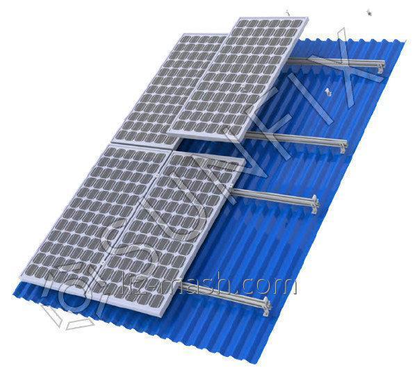 Алюминиевая конструкция на крышу для солнечных панелей