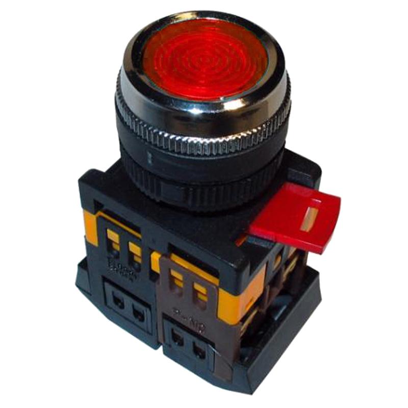 Купить Кнопка ABLFS-22 красный d22мм неон/240В 1з+1р IEK