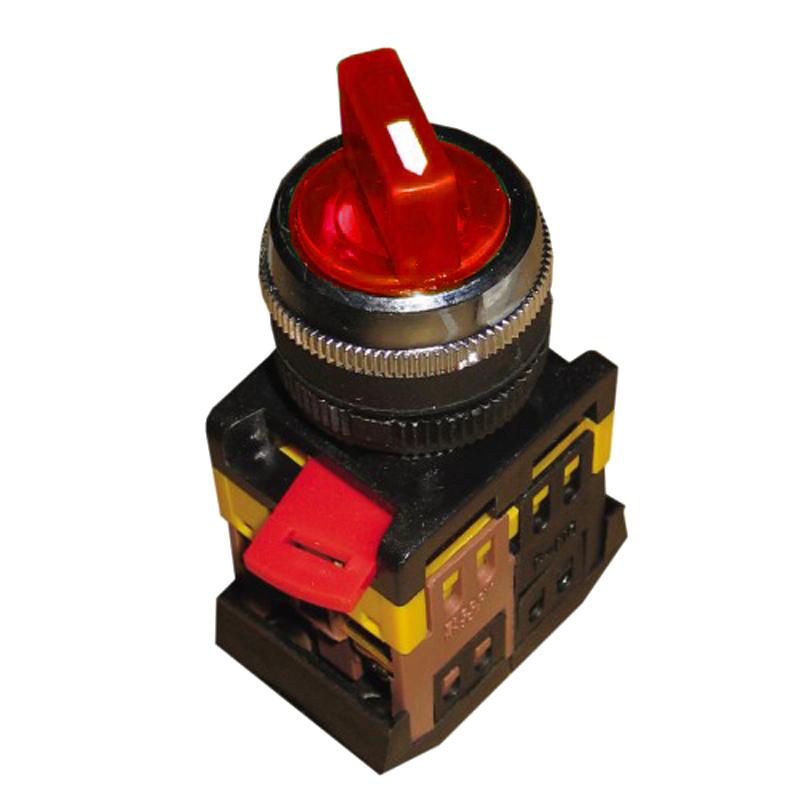 Купить Переключатель АNСLR-22-3 на 3 фикс.полож.красный неон/240В I-O-II 1з+1р IEK
