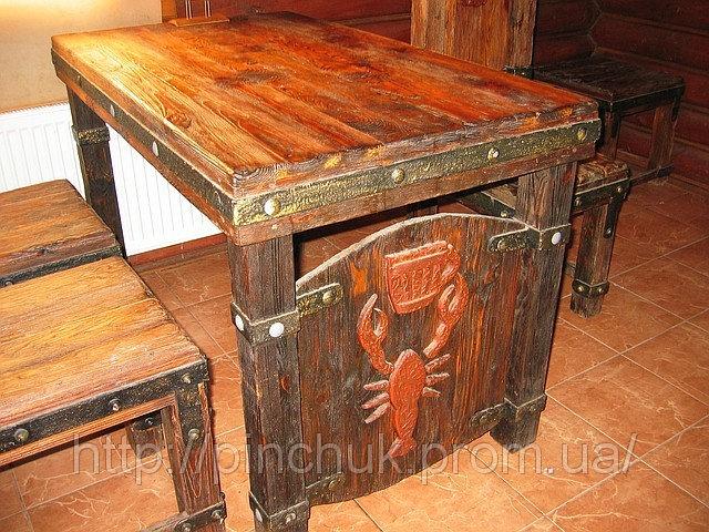 """Купить Мебель под старину стол и стул"""" Пивной""""."""