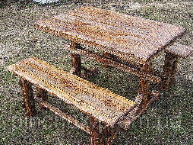 """Купить Деревянная мебель под старину.Стол и скамейки."""" Радомир""""."""