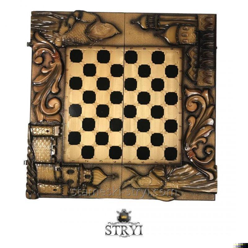 Эксклюзивные Шахматы-Нарды Ручной Работы STRYI,  Ш-064