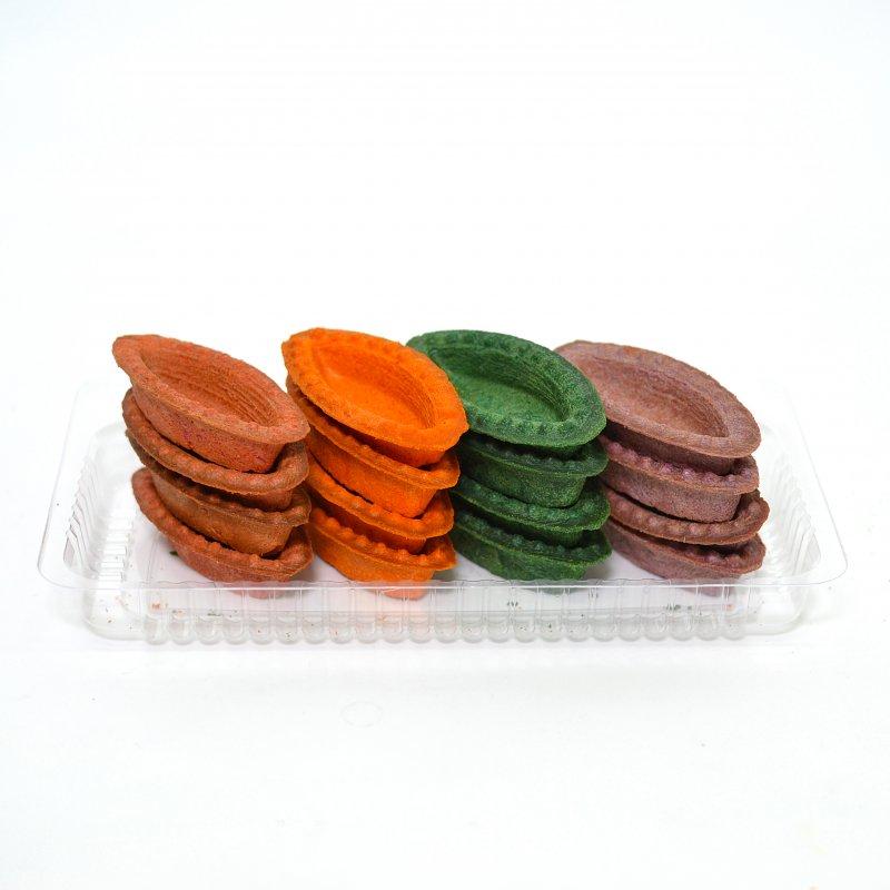Tartalete de aluat sub formă de bărci multicolore pentru salate 150g.