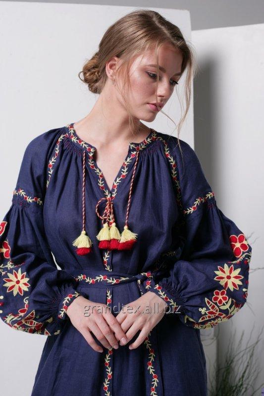 Купить Вышитое платье женское национальное лен 100% длинное темно-синее ручная работа в стиле Бохо из коллекции AnnaBo