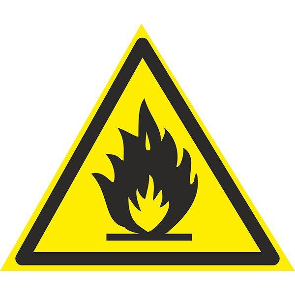 Купить Знак Осторожно ! Легковоспламеняющиеся вещества 150мм с-к пленка