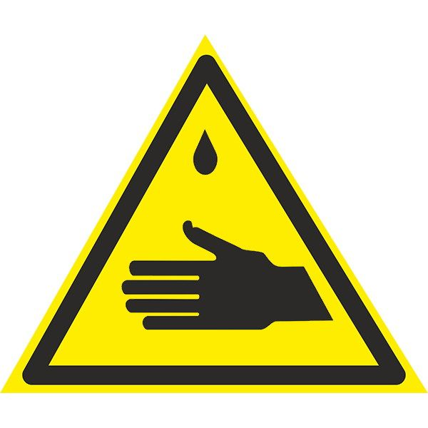 Купить Знак Осторожно ! Едкие вещества 150мм пластик ПВХ
