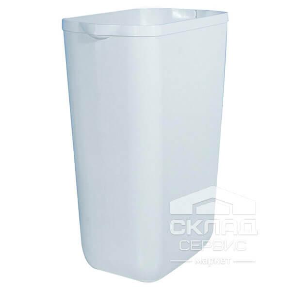 Купить Урна для мусора из пластика с кронштейном, белая, без крышки 490(h)х220х330 мм