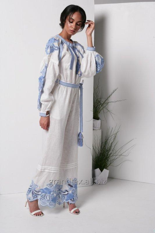 Buy Costume women white with blue embroidery Richelieu linen 100% handmade boho style AnnaBo collection